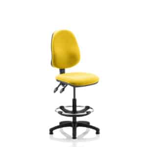 Eclipse II Lever Task Operator Chair Senna Yellow Fully Bespoke Colour With Hi Rise Draughtsman Kit