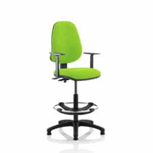 Eclipse II Lever Task Operator Chair Myrhh Green Fully Bespoke Colour With Height Adjustable Arms With Hi Rise Draughtsman Kit