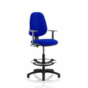 Eclipse II Lever Task Operator Chair Stevia Blue Fully Bespoke Colour With Height Adjustable Arms With Hi Rise Draughtsman Kit