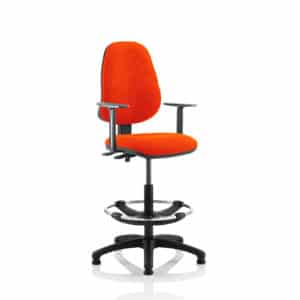 Eclipse II Lever Task Operator Chair Tabasco Red Fully Bespoke Colour With Height Adjustable Arms With Hi Rise Draughtsman Kit