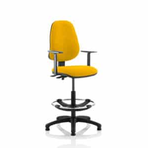 Eclipse II Lever Task Operator Chair Senna Yellow Fully Bespoke Colour With Height Adjustable Arms With Hi Rise Draughtsman Kit