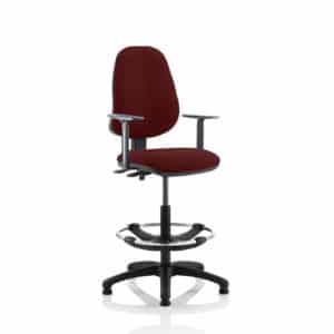 Eclipse II Lever Task Operator Chair Gingseng Chilli Fully Bespoke Colour With Height Adjustable Arms With Hi Rise Draughtsman Kit