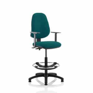 Eclipse II Lever Task Operator Chair Maringa Teal Fully Bespoke Colour With Height Adjustable Arms With Hi Rise Draughtsman Kit
