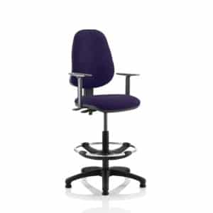 Eclipse II Lever Task Operator Chair Tansy Purple Fully Bespoke Colour With Height Adjustable Arms With Hi Rise Draughtsman Kit