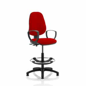 Eclipse II Lever Task Operator Chair Bergamot Cherry Fully Bespoke Colour With Loop Arms With Hi Rise Draughtsman Kit