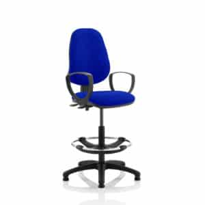 Eclipse II Lever Task Operator Chair Stevia Blue Fully Bespoke Colour With Loop Arms With Hi Rise Draughtsman Kit