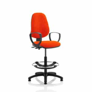 Eclipse II Lever Task Operator Chair Tabasco Red Fully Bespoke Colour With Loop Arms With Hi Rise Draughtsman Kit