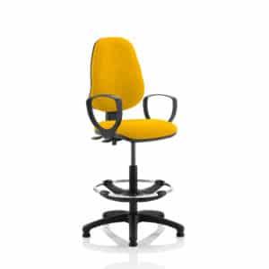 Eclipse II Lever Task Operator Chair Senna Yellow Fully Bespoke Colour With Loop Arms With Hi Rise Draughtsman Kit