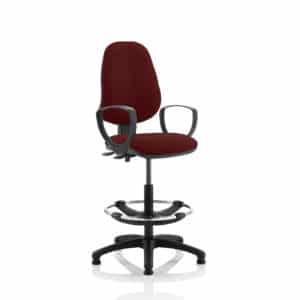 Eclipse II Lever Task Operator Chair Gingseng Chilli Fully Bespoke Colour With Loop Arms With Hi Rise Draughtsman Kit