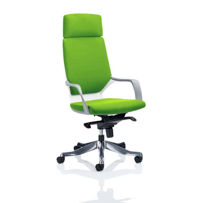 Xenon Executive White Shell High Back With Headrest Fully Bespoke Colour Myrhh Green