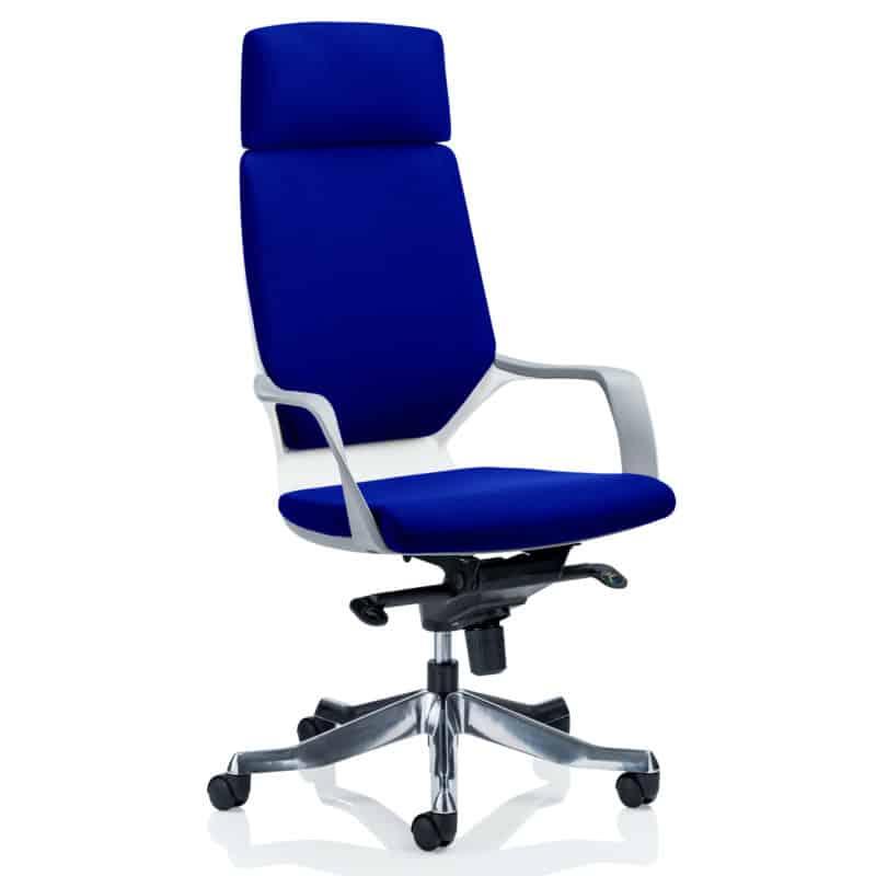 Xenon Executive White Shell High Back With Headrest Fully Bespoke Colour Stevia Blue