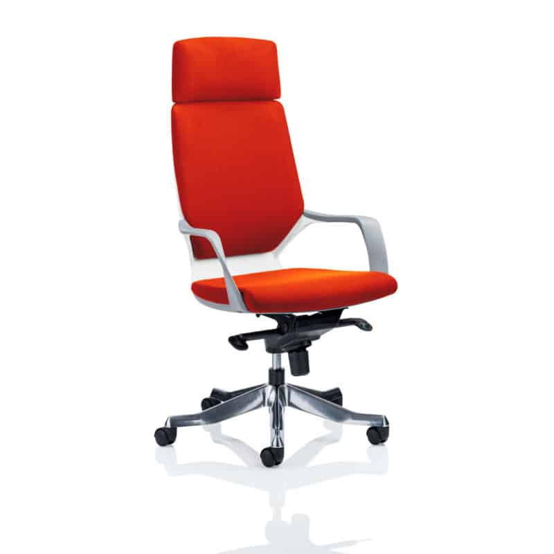 Xenon Executive White Shell High Back With Headrest Fully Bespoke Colour Tabasco Red
