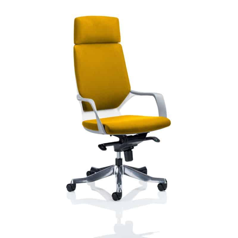 Xenon Executive White Shell High Back With Headrest Fully Bespoke Colour Senna Yellow