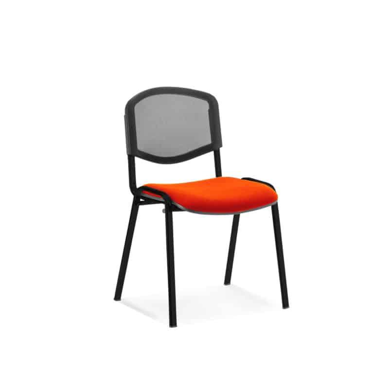 ISO Black Frame Mesh Back Bespoke Colour Fabric - (Min Order Qty X 4) Tabasco Red