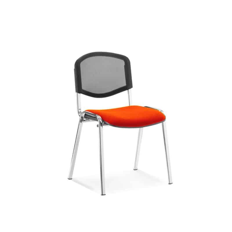 ISO Chrome Frame Mesh Back Bespoke Colour Fabric - (Min Order Qty X 4) Tabasco Red