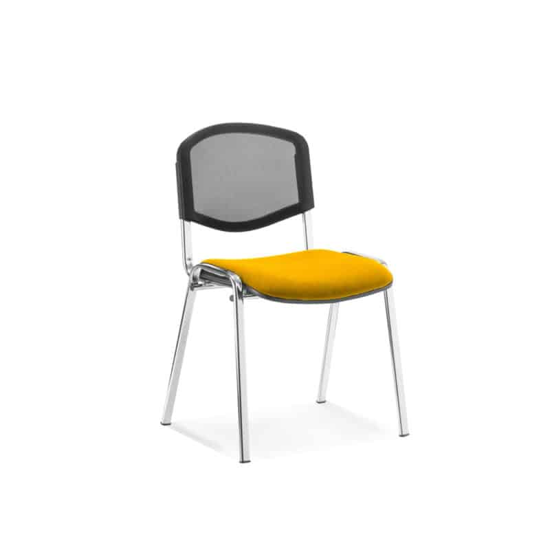 ISO Chrome Frame Mesh Back Bespoke Colour Fabric - (Min Order Qty X 4) Senna Yellow