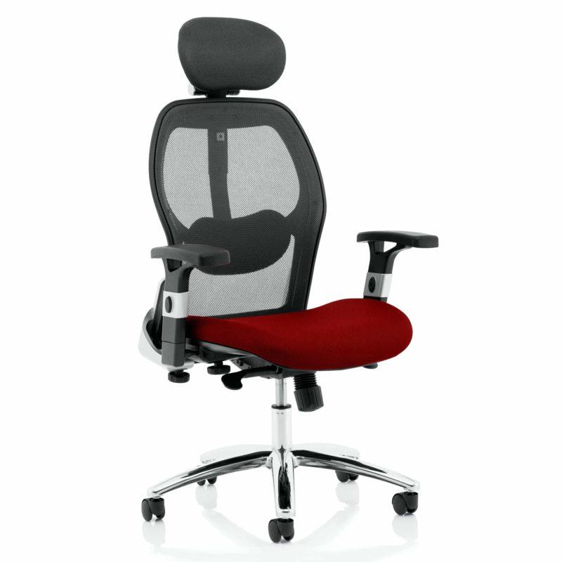 Sanderson II Upholstered Seat Only Bergamot Cherry Mesh Back Chair