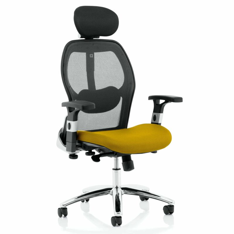 Sanderson II Upholstered Seat Only Senna Yellow Mesh Back Chair
