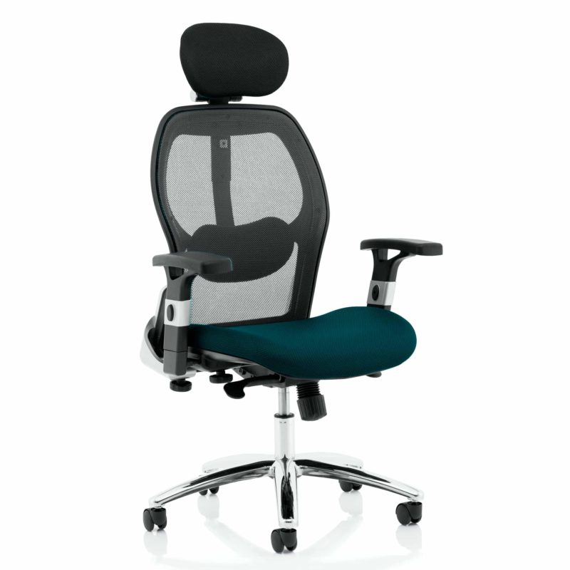 Sanderson II Upholstered Seat Only Maringa Teal Mesh Back Chair