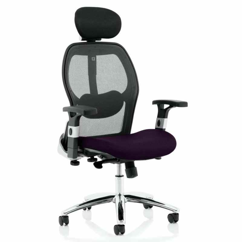 Sanderson II Upholstered Seat Only Tansy Purple Mesh Back Chair