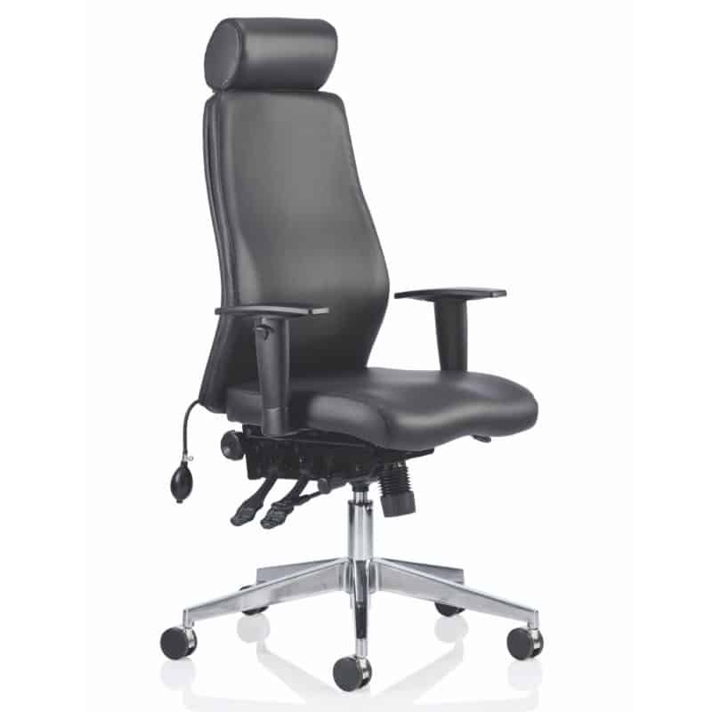 Onyx Ergo Posture Chair Black Bonded Leather With Headrest With Arms