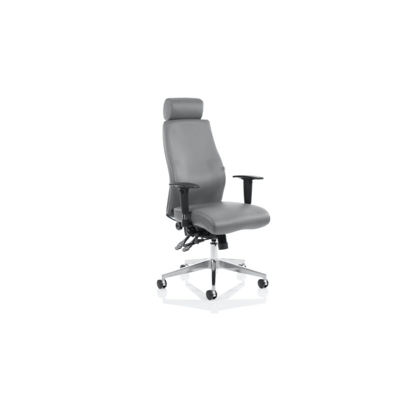Onyx Ergo Posture Chair Grey Bonded Leather With Headrest With Arms