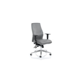 Onyx Ergo Posture Chair Grey Bonded Leather Without Headrest With Arms