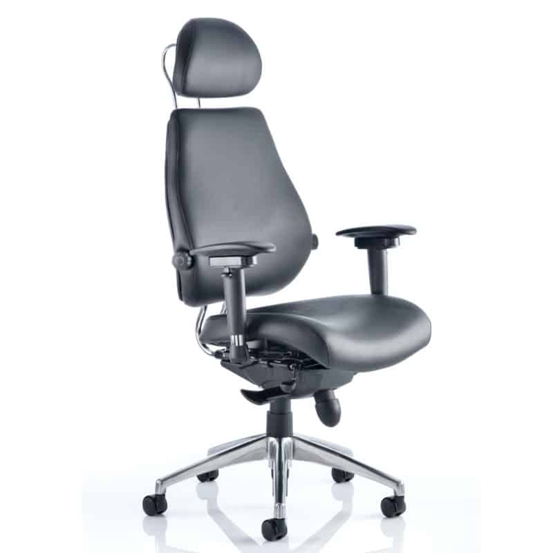 Chiro Plus Ultimate Black Leather With Arms With Headrest