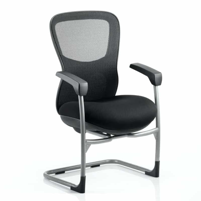 Stealth Shadow Ergo Posture Visitor Black Cantilever Chair Airmesh Seat And Mesh Back With Arms