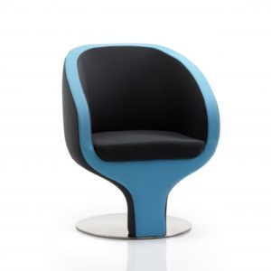Tulip Visitor Chair Black And Blue Fabric