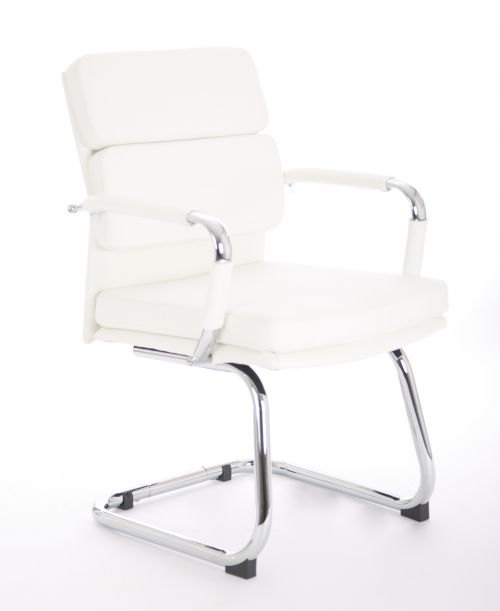 Advocate Visitor Chair White Bonded Leather With Arms