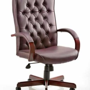 Chesterfield Executive Chair Burgundy Leather With Arms