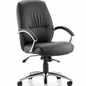 Dune Executive Medium Back Chair Black Bonded Leather With Arms