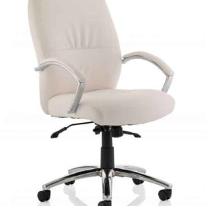 Dune Executive High Back Chair White Bonded Leather With Arms