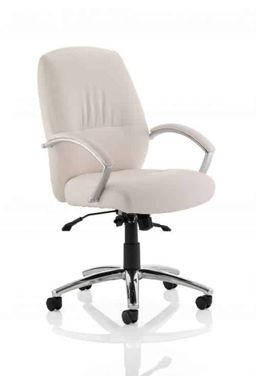 Dune Executive Medium Back Chair White Bonded Leather With Arms