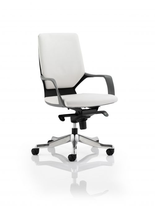 Xenon Executive Black Shell Medium Back White Leather With Arms