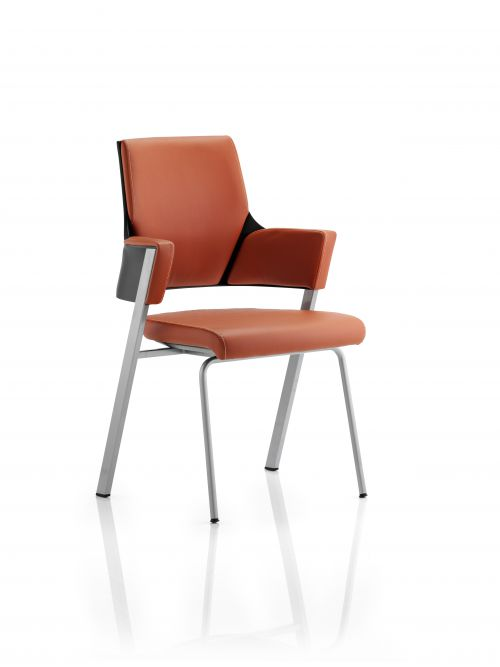 Enterprise Visitor Chair Tan Leather With Arms