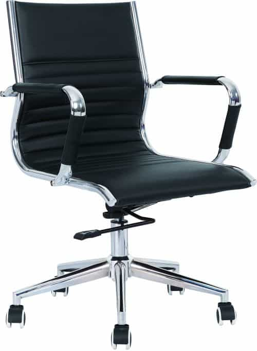 Heiro Medium Back Black Faux Leather Designer Chair With Arms