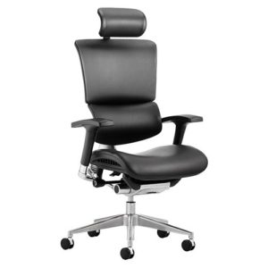 Ergo-Dynamic Posture Chair Black Bonded Leather Black Frame With Arms With Headrest