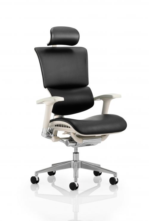 Ergo-Dynamic Posture Chair Black Bonded Leather Grey Frame With Arms With Headrest