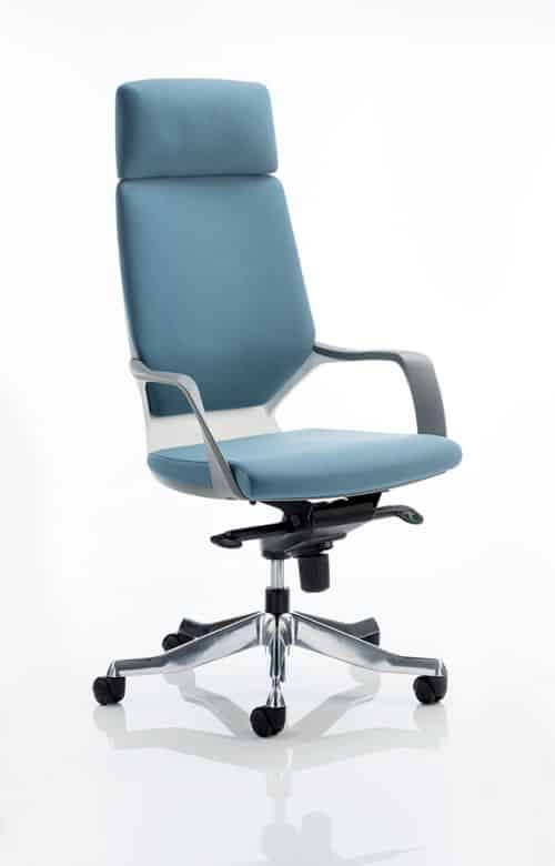 Xenon Executive White Shell High Back Blue Fabric With Headrest