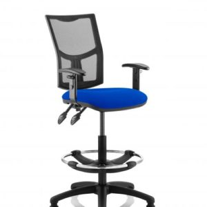 Eclipse II Lever Task Operator Chair Mesh Back With Blue Seat With Height Adjustable Arms With Hi Rise Draughtsman Kit
