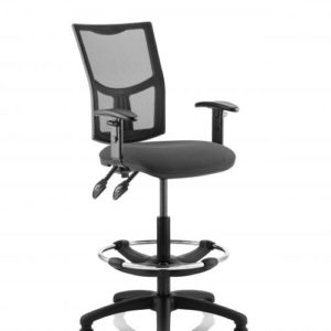 Eclipse II Lever Task Operator Chair Mesh Back With Charcoal Seat With Height Adjustable Arms With Hi Rise Draughtsman Kit