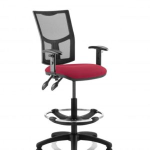 Eclipse II Lever Task Operator Chair Mesh Back With Wine Seat With Height Adjustable Arms With Hi Rise Draughtsman Kit