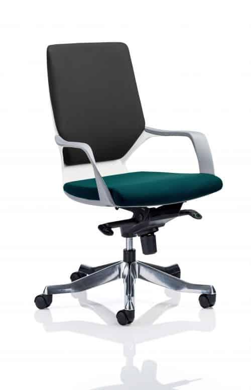 Xenon Executive White Shell Medium Back Bespoke Colour Seat Maringa Teal