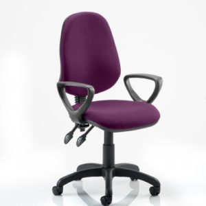 Eclipse II Lever Task Operator Chair Bespoke With Loop Arms In Tansy Purple