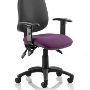 Eclipse III Lever Task Operator Chair Black Back Bespoke Seat With Height Adjustable Arms In Tansy Purple