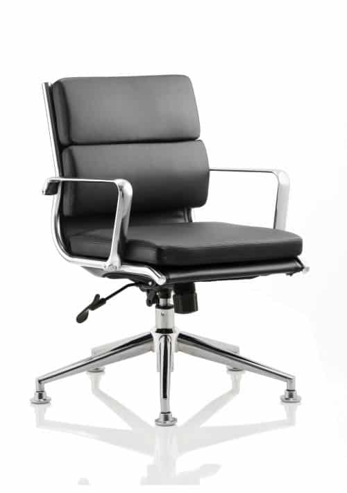 Savoy Executive Medium Back Chair Black Bonded Leather With Arms With Chrome Glides