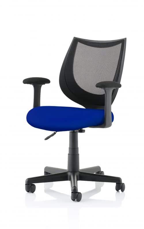 Camden Black Mesh Chair in Stevia Blue