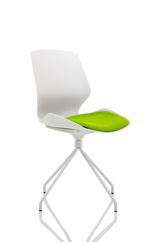 Florence Spindle White Frame Visitor Chair in Myrrh Green